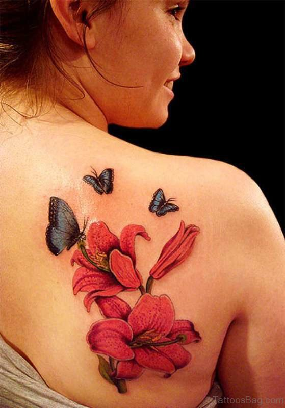 Outstanding Butterfly And Flower Tattoo