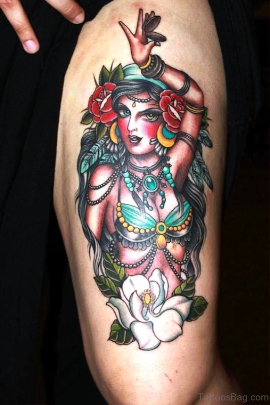 Outstanding Gypsy Tattoo On Arm