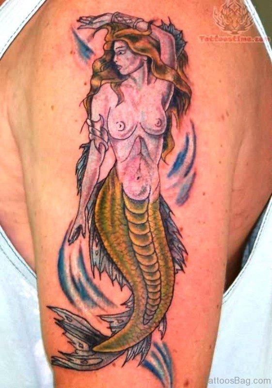 Outstanding Mermaid Tattoo On Shoulder