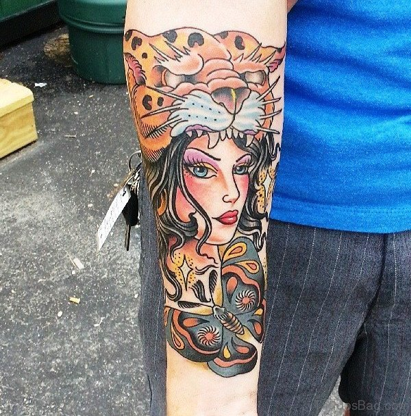 Panther Head With Gypsy Tattoo