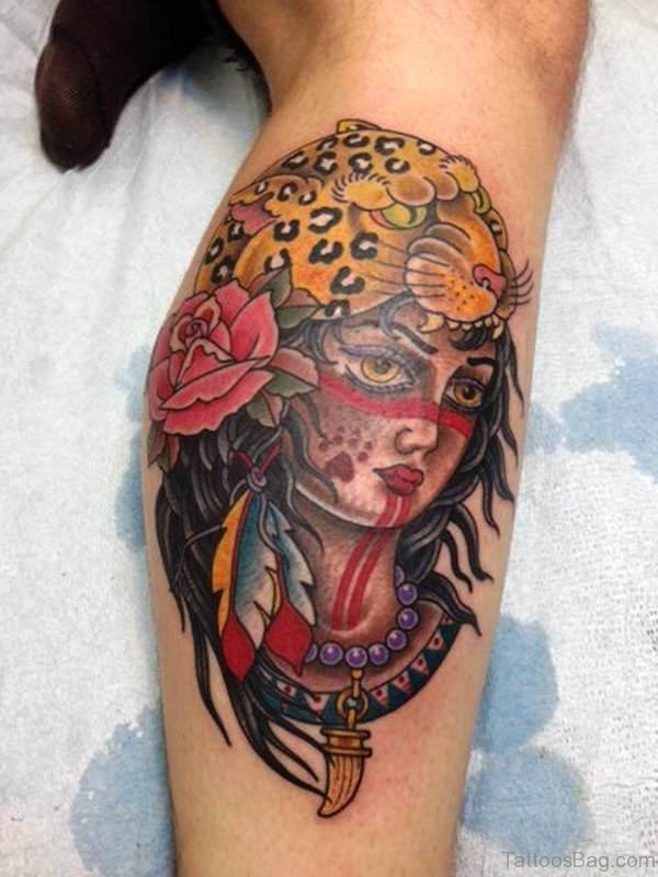 Panthr Gypsy Tattoo On Leg