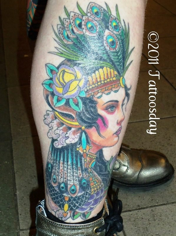 Peacock Feathers Gypsy Tattoo On Leg