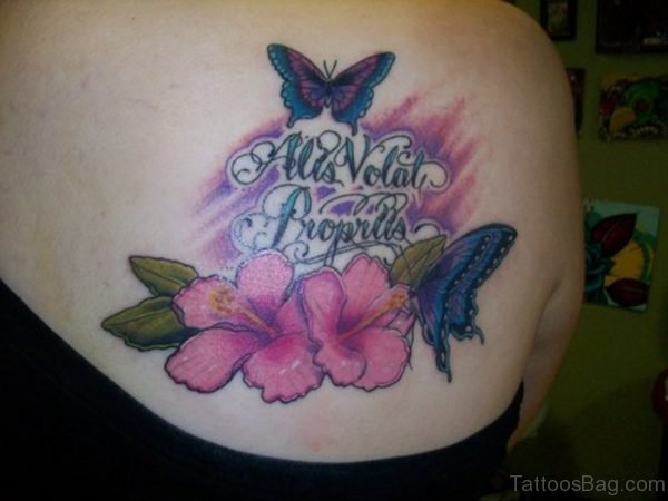 Pink Flower And Butterfly Shoulder Tattoo