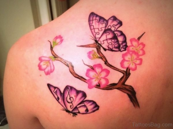 Pink Flower And Butterfly Tattoo