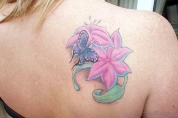 Pink Flower And Butterfly Tattoo On Shoulder