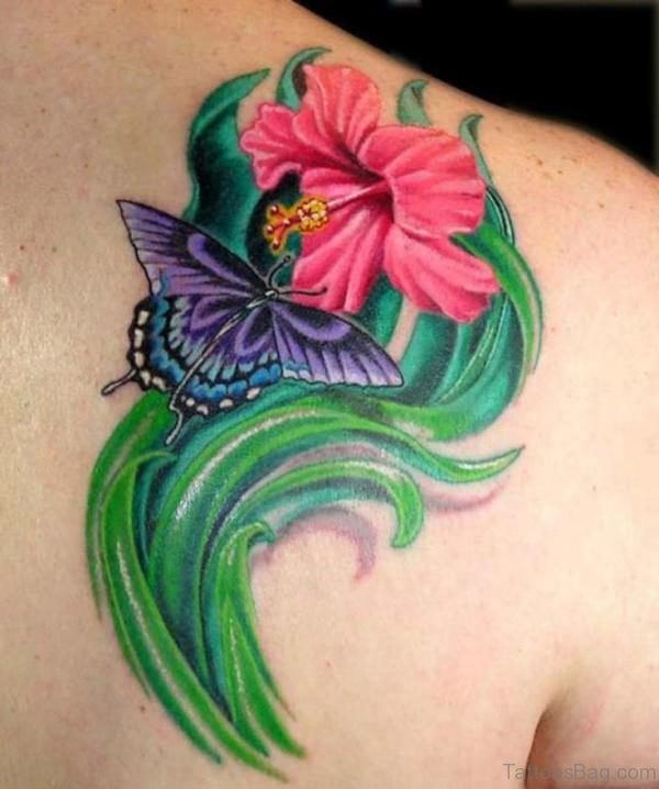Pink Lily And Butterfly Shoulder Tattoo