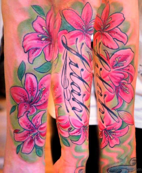 Pink Lily Vine Tattoo On Arm