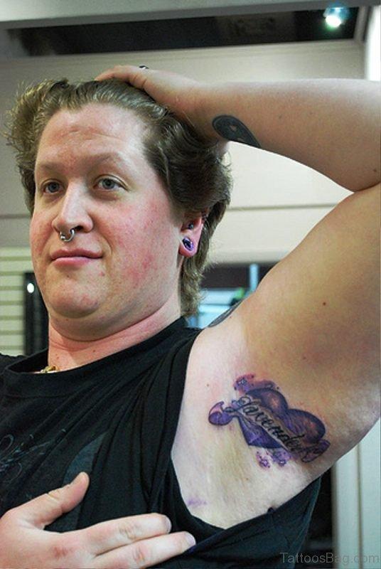 Purple Heart Tattoo On Armpit
