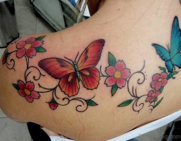 Red Butterfly And Flower Shoulder Tattoo
