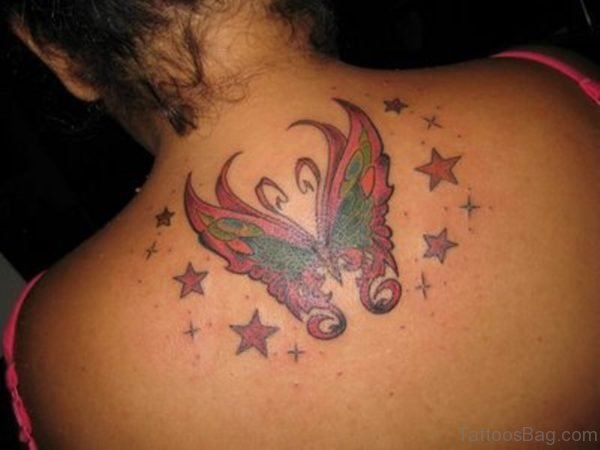 Red Butterfly And Star Tattoo On Back
