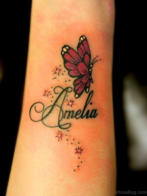 Red Butterfly And Star Tattoo On Wrist
