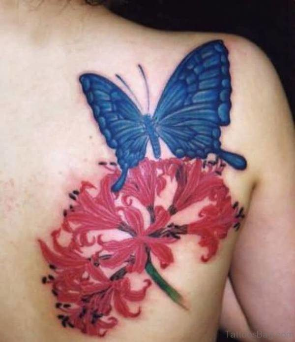Red Flower And Butterfly Shoulder Tattoo 1