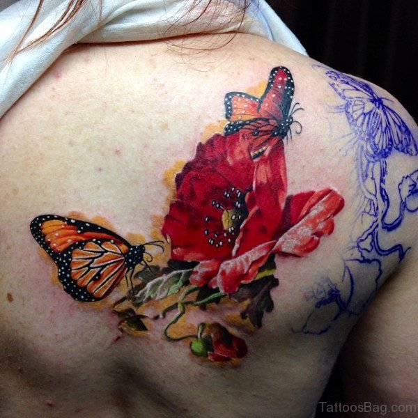 Red Flower And Butterfly Shoulder Tattoo