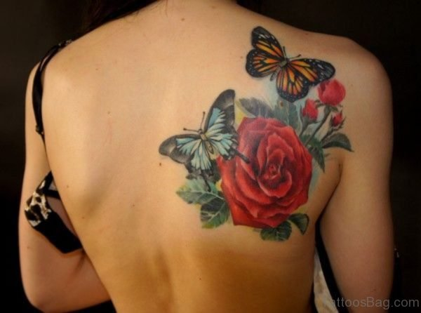 Red Flower NAd Butterfly Tattoo on Shoulder