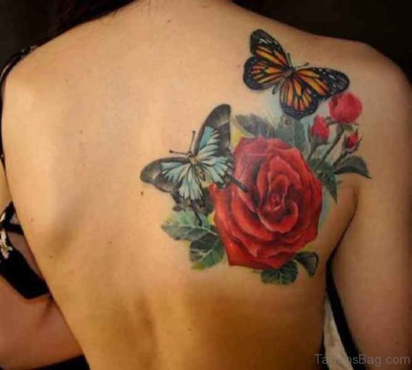 Red Rose And Butterfly Shoulder Tattoo