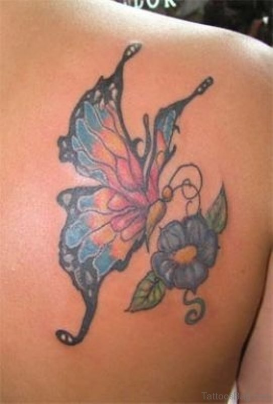 Simple Blue Butterfly And Flower Tattoo