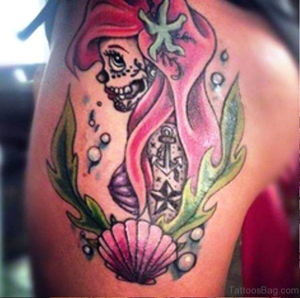Skull Mermaid Tattoo On Shoulder
