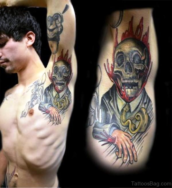 Skull Tattoo On Armpit