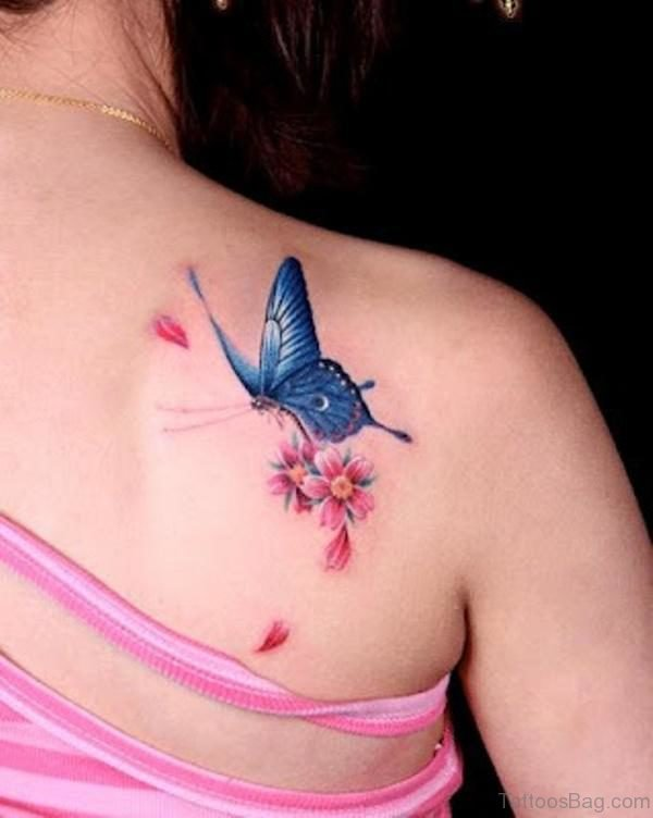 Small Flower And Butterfly Tattoo