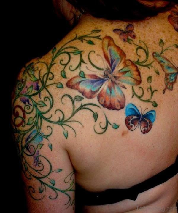 Stunning Butterfly ANd Flower Tattoo