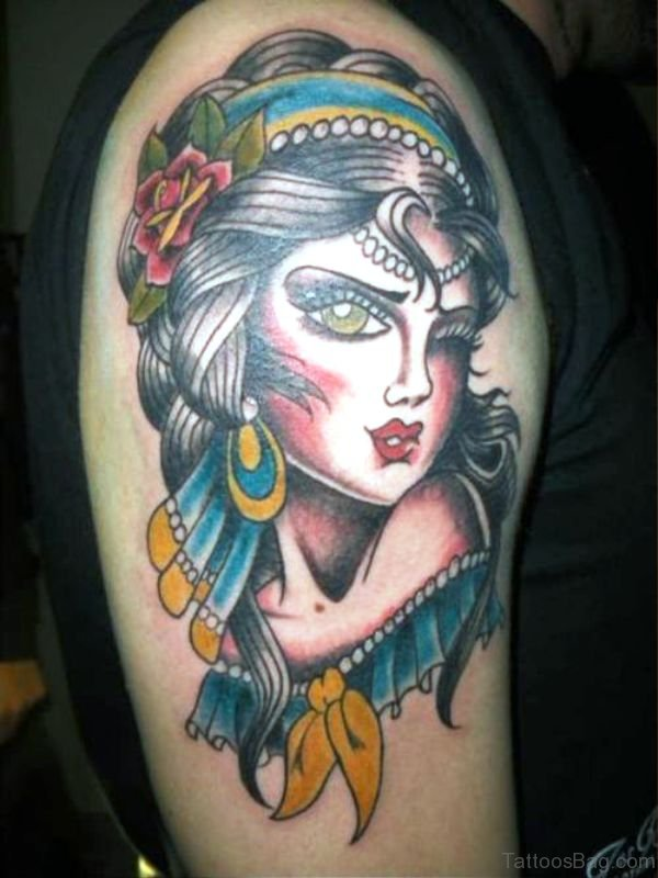 Stupendous Gypsy Tattoo On Shoulder