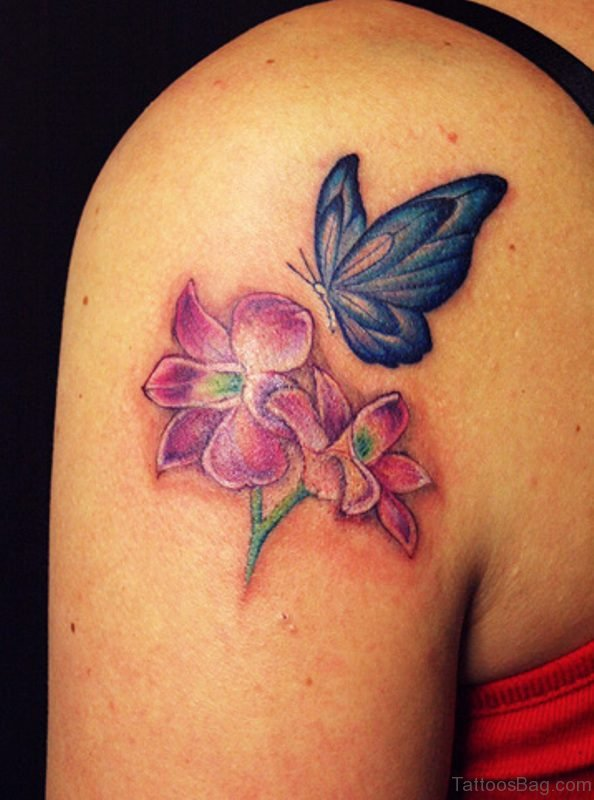 Sweet Blue Butterfly And Flower Tattoo On Shoulder