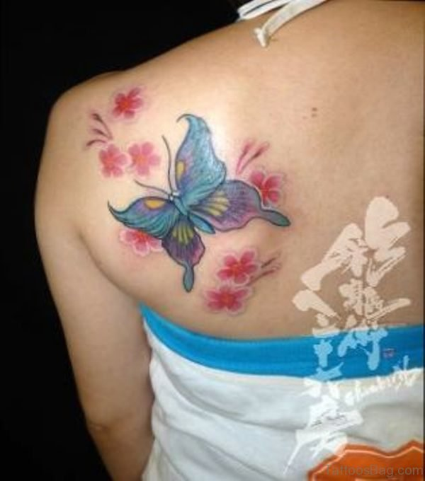 Sweet Butterfly And Flower Shoulder Tattoo