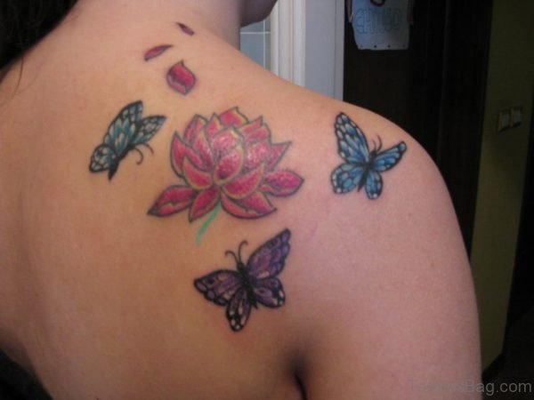 Sweet Butterfly And Flower Tattoo