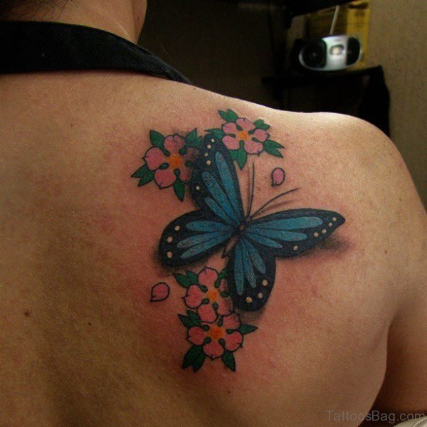 Sweet Butterfly And Flower Tattoo On Shoulder