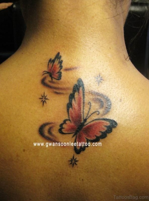 Sweet Butterfly And Star Tattoo On Back