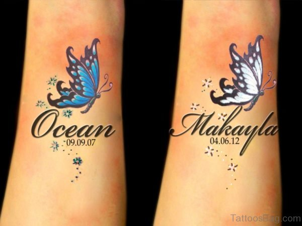 Temporary Butterfly ANd Star Tattoo