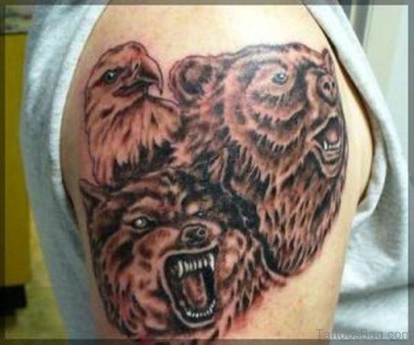 Three Brown Bear Tattoo On Shoulder