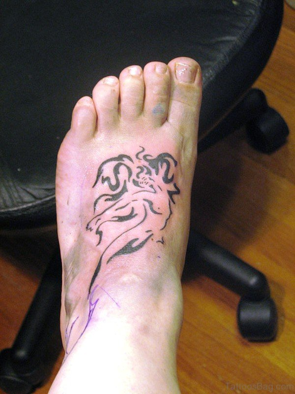 Tribal Mermaid Tattoo On Foot