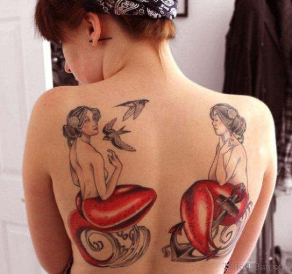 Twin Mermaid Tattoos On Back