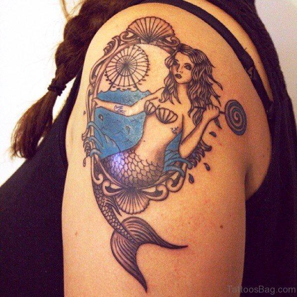 Vintage Mermaid Tattoo On Shoulder