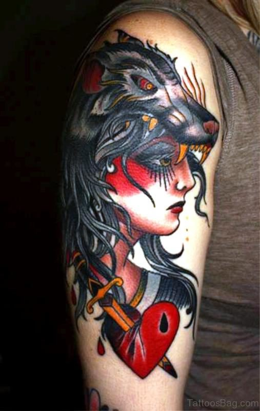 Wolf Dagger With Gypsy Tattoo