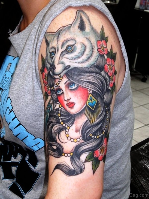 Wolf Head Gypsy Tattoo On Shoulder
