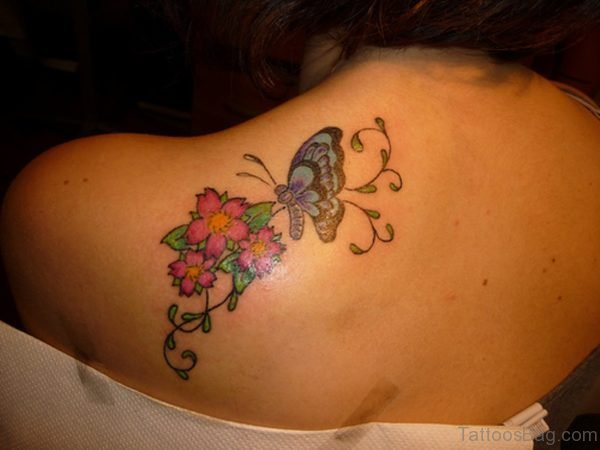 Wonderful Butterfly And Flower Tattoo On Shoulder