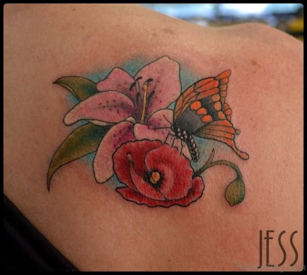Yellow Butterfly And Flower Shoulder Tattoo 1