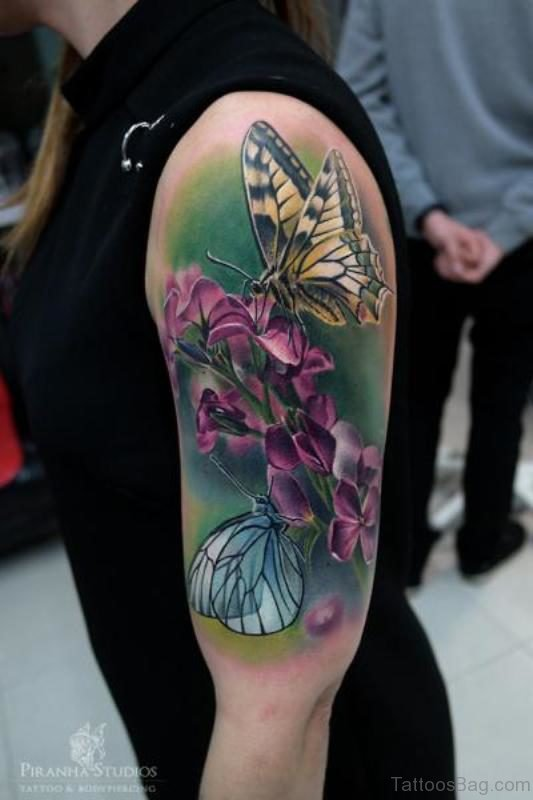Yellow Butterfly And Flower Shoulder Tattoo