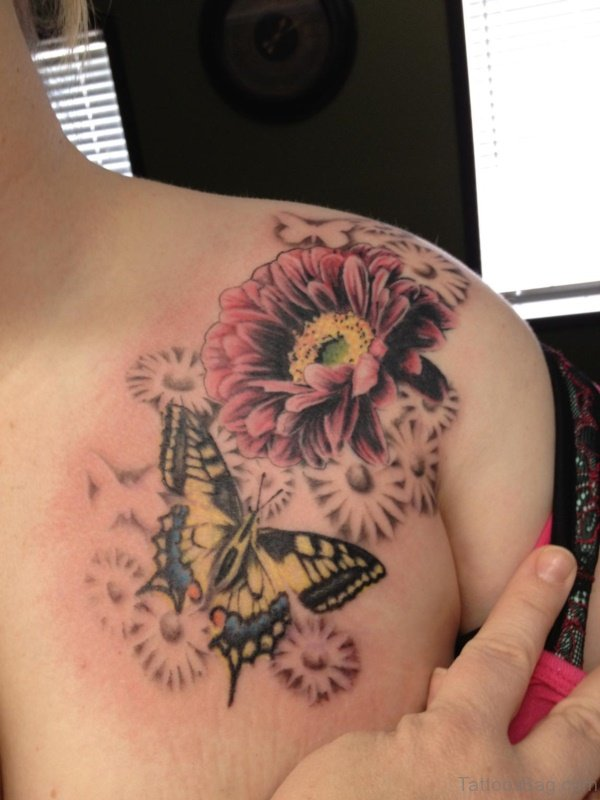 Yellow Butterfly And Flower Tattoo
