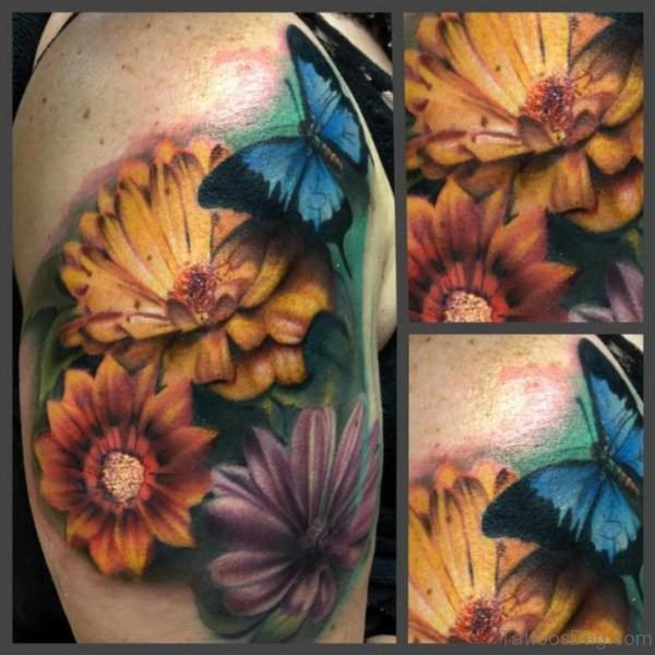 Yellow Flower ANd Butterfly Shoulder Tattoo