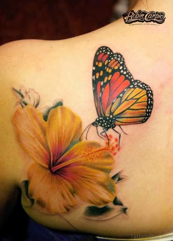 Yellow Flower ANd Butterfly Tattoo On Shoulder