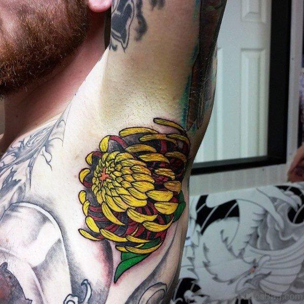 Yellow Flower Armpit Tattoo